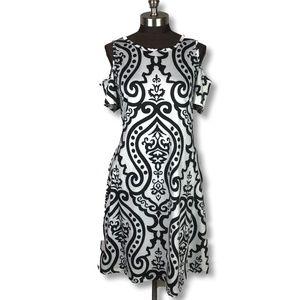 Black White Damask Pattern Cold Shoulder Dress